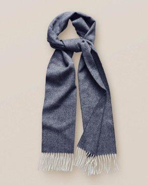 Blue Herringbone Wool Scarf