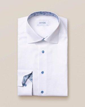 White twill shirt - blue details