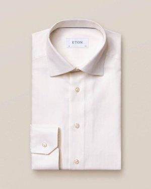Off White Herringbone Twill Shirt