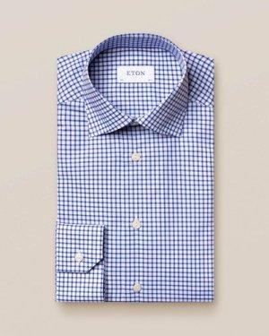 Blue & White Checked Stretch Twill Shirt