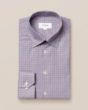 Brown & Blue Check Twill Shirt