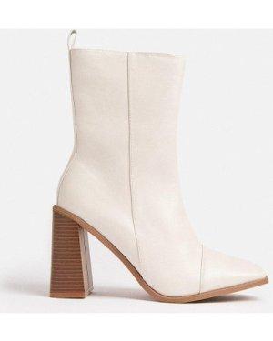 Coast PU Chunky Heel Boots -, Nude