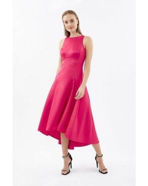 Coast Seamed Printed Hi Low Twill Dress -, Red