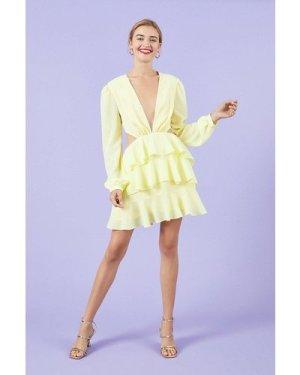 Coast Long Sleeve Cutout Lace Trim Skater Dress - Lemon, Yellow