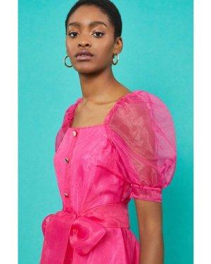 Coast Square Neck Organza Belted Dress -, Pink