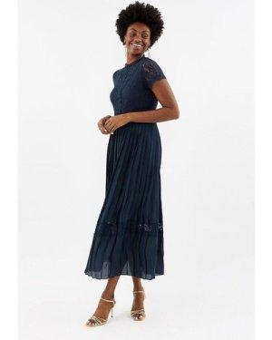Coast Lace Bodice Pleat Skirt Maxi Dress -, Navy