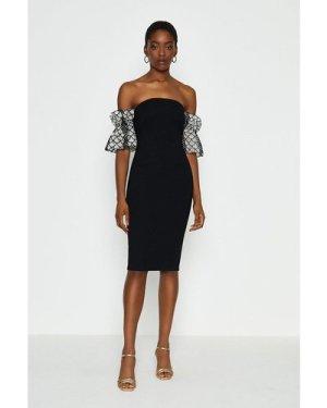 Coast Bardot Texture Sleeve Dress -, Black