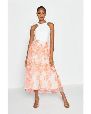 Coast Metallic Clipped Jacquard Skirt -, Pink