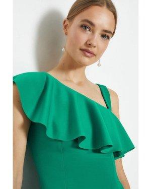 Coast One Shoulder Ruffle Scuba Midi Dress -, Green