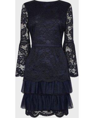 Coast Lace Ruffle Tulle Hem Dress -, Navy