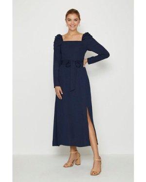 Coast Square Neck Long Sleeve Midi Dress -, Navy
