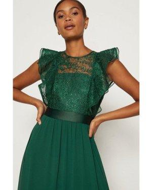 Coast Frilled Sleeve Lace Bodice Maxi Dress -, Green