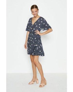 Coast Large Spot Wrap Mini Dress -, Mono