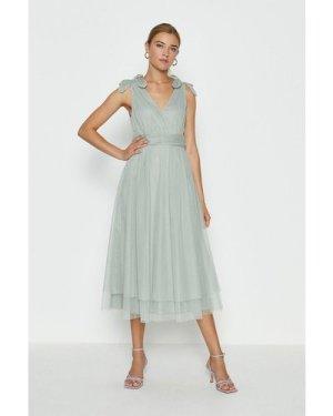 Coast Bow Shoulder Mesh Midi Dress -, Sage