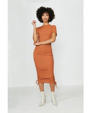 Coast Ribbed Jersey Ruche Side Dress -, Orange