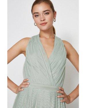 Coast Pleat Mesh Skirt Maxi Dress -, Sage