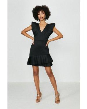 Coast Ruffle Detail Sleeveless Scuba Dress -, Black