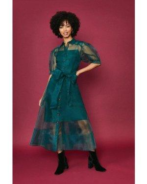 Coast Organza Puff Sleeve Dress -, Green