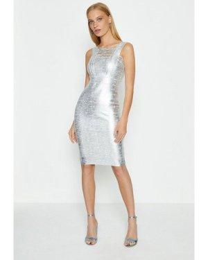 Coast Square Neck Metallic Dress -, Silver