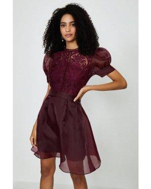 Coast Organza Puff Sleeve Mini Dress - Plum, Red