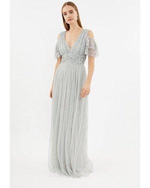 Coast Cold Shoulder Scattered Embellished Maxi Dress -, Silver