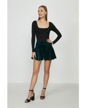 Coast Velvet Flippy Shorts -, Green