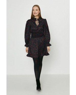 Coast Tie Neck Shirred Waist Spot Dress -, Black
