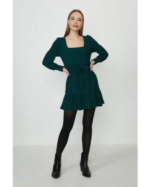 Coast Square Neck Flippy Hem Dress -, Bottle Green