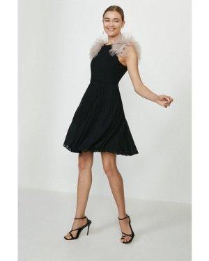 Coast Ruffle Pleated Mini Dress -, Black