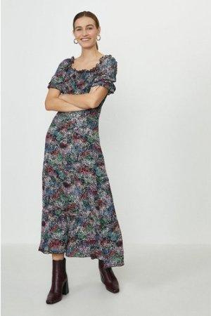 Coast Shirred Bodice Puff Sleeve Maxi Dress, Multi