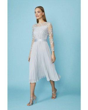 Coast Embroidered Long Sleeve Midi Dress -, Silver
