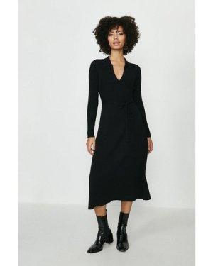 Coast Knitted Collar Dress -, Black
