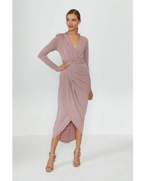 Coast Jersey Wrap Front Dress -, Nude