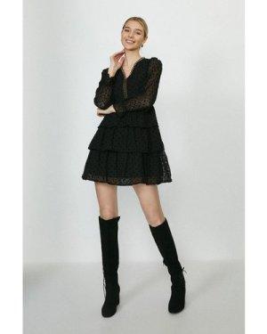 Coast Sheer Spot Tiered Hem Mini Dress -, Black