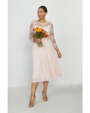 Coast Curve Embroidered Long Sleeve Midi Dress -, Pink