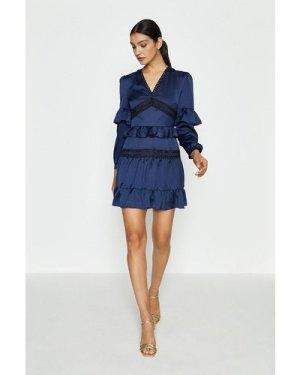 Coast Ruffle Lace And Mix Dress -, Navy