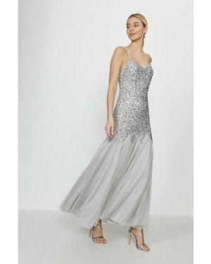 Coast Sequin Cami Strap Fishtail Maxi Dress -, Grey