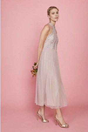 Coast Embellished Pleated Midi Dress -, Pink