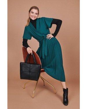 Coast Wrap Front Pleated Skirt Dress -, Green