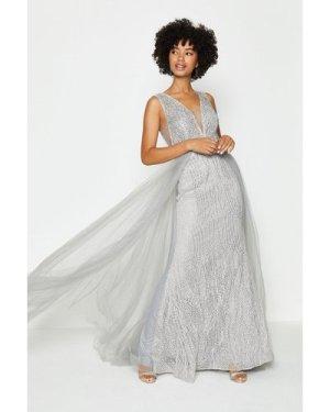 Coast Tulle Overskirt Maxi Dress -, Silver