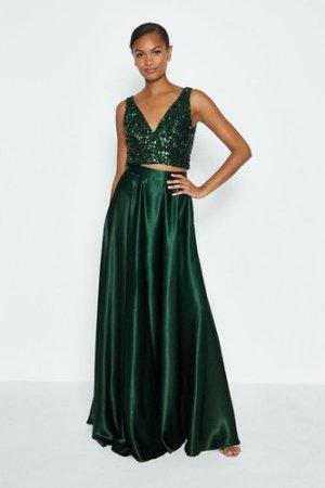 Coast Satin Maxi Skirt -, Green