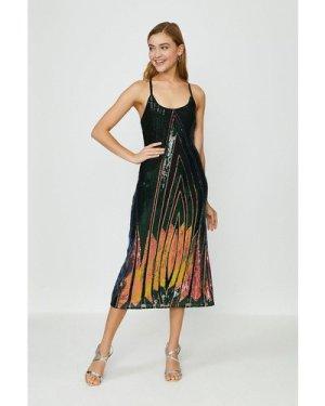 Coast Sequin Strappy Midi Dress, Multi