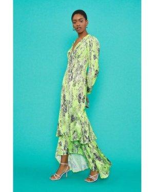 Coast V-Neck Tiered Hem Maxi Dress -, Green