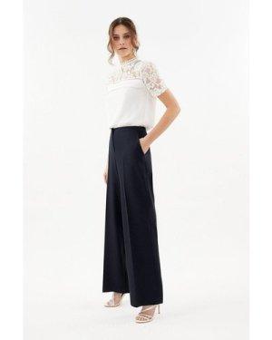 Coast Essential Cotton Sateen Wide Leg Trousers -, Navy