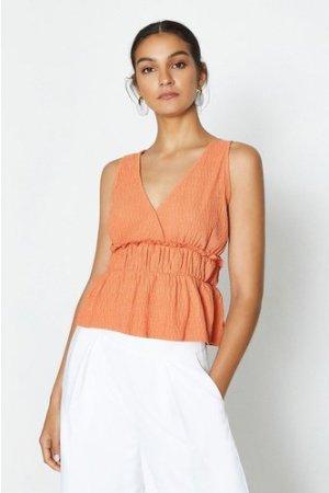 Coast Sleeveless V-Neck Shirred Waist Top -, Orange