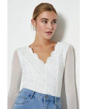 Coast Mesh Sleeve Lace Body -, White