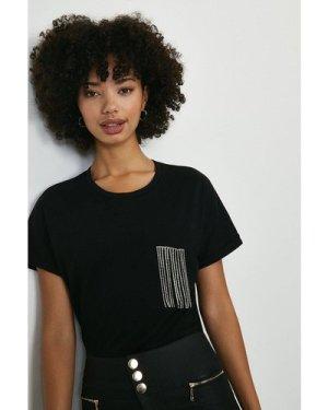 Coast Diamante Trim Pocket Tshirt -, Black