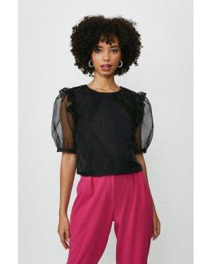 Coast Organza Puff Sleeve Blouse -, Black