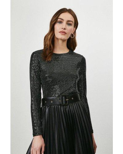 Coast Shimmer Long Sleeve Jersey Top -, Black