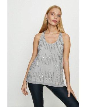 Coast Embellished Sequin Vest Top -, Silver